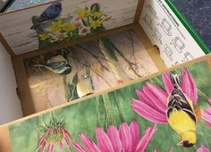 Decorated box with bird pictures from calendars -- view 2 Operation Christmas Child, Bird Pictures, Kids Christmas, Charity, Decorative Boxes, Children, Painting, Art, Young Children