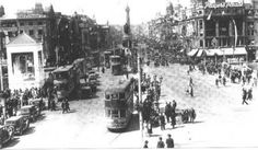 View up O'Connell Street at the time of the Eucharistic Congress Old Pictures, Old Photos, Vintage Photos, Irish Language, Photo Engraving, Dublin City, Kingdom Of Great Britain, Republic Of Ireland, Ireland Travel
