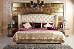 Modrest Majestic Transitional Beige Eco-Leather Eastern King Size Bed VGKNN5028-BEIGEProduct :14683Features:Modern BedHeadboard is upholstered in top-grain tufted Eco-LeatherHeadboard is tufted with artificial crystalsBeautiful Wooden Leg DesignDimensions :Eastern King Size Bed: W103