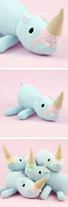 Hokey the Ice Cream Rhino Hippo - Pink Strawberry Icecream | Softie | Baby Toy | Plush | Kids | Baby | Little Ones