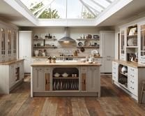 Tewkesbury Framed stone kitchens have a solid timber stone Shaker door with a framed feature, and a veneered centre panel