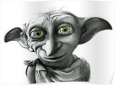 Dobby from harry potter pencil drawing print by coralbrigliaartist Dobby Harry Potter, Harry Potter Tattoos, Harry Potter Artwork, Harry Potter Drawings, Harry Potter Movies, Harry Potter Sketch, Hogwarts, Desenho Tattoo, Disney Drawings