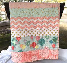 Balloon baby quilt, hot air balloons, chevrons, birds,brambleberry ridge, glitz, coral-mint-pink-gold shimmer