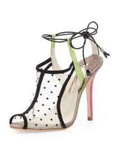 Sophia Webster Blake Polka-Dot Mesh Sandal, Black
