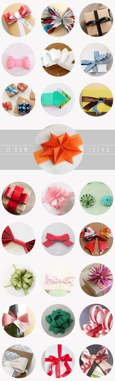 25 Handmade Bow Tutorials - I'm In Overload! I Want To Try Them All :) #wrapping#bows#diy#handmade#paper
