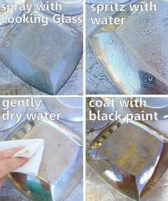 What a great craft idea - grab some plates and paint to make these mercury glass plates! store glass plate crafts Grab some thrift store plates & spray paint for this easy project! Dollar Tree Plates, Clear Glass Plates, Diy Spray Paint, Looking Glass Spray Paint, Spray Paint Mirror, Decoupage, Thrift Store Crafts, Plate Crafts, Crafty Craft