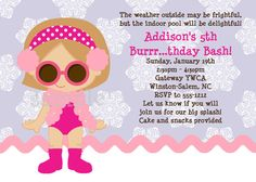 Winter Pool Party Birthday Invitation Girl by CutiesTieDyeBoutique, $15.00