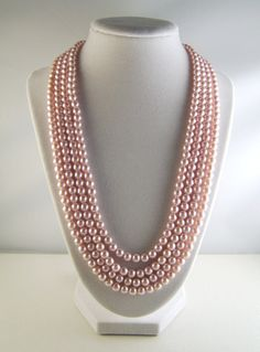 Vintage Pink Glass Pearl Necklace!!