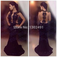 Scoop Neckline Open Back Sequins Black Mermaid Prom Dresses 2015 Long Sexy Evening Formal Gown See Through special occasion gown