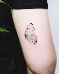 Cool Tattoo Ideas for Men and Women, The Wild Tattoo Design Pictures - H. - Cool Tattoo Ideas for Men and Women, The Wild Tattoo Design Pictures – Half butterfly tat - Sweet Tattoos, Cute Small Tattoos, Tattoos For Women Small, Mini Tattoos, Pretty Tattoos For Women, Ribbon Tattoos, Small Flower Tattoos, Tattoos Skull, Body Art Tattoos