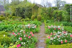 Rosemary Verey's Cotswold garden - Barnsley House.  The Potager, filled with spring bulbs in April and May