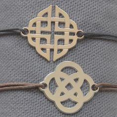 Bracelet grande arabesque argent lacet coton taille ajustable
