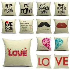 Words Heart Lovers Couple Home Decoration Waist Cushion Cover Throw Pillow Case