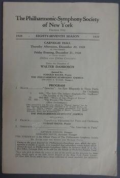 Bauer Harold  Damrosch Walter  Carnegie Hall Concert Program