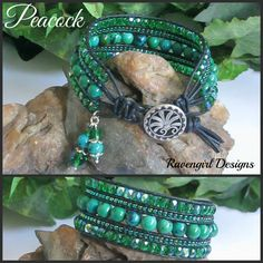 PEACOCK Gemstone Leather Wrap Bracelet By Ravengirl Designs on Facebook SHOP MAIN CATALOG ---> https://www.facebook.com/media/set/?set=a.1508975245990649.1073741949.1376895929198582&type=1
