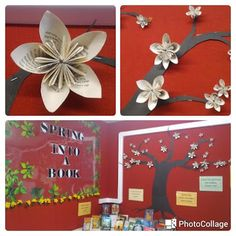 Library Displays: Spring into a Book-origami flowers School Library Displays, Middle School Libraries, Elementary Library, Classroom Displays, Classroom Decor, Bulletin Board Tree, Spring Bulletin Boards, Library Posters, Library Bulletin Boards