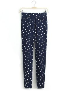 Regular Print Tapered Pant : KissChic.com Cheap Pants, Star Patterns, Star Print, Cheap Fashion, Fashion Pants, Elastic Waist, Pants For Women, Pajama Pants, Navy Blue
