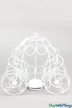 """Cinderella Princess Carriage 10 1/2"""" x 6"""" x 9 1/2"""" - White Wire Centerpiece"""