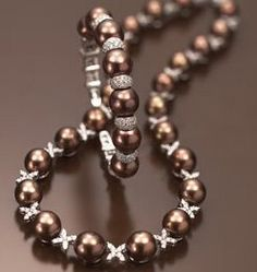 Chocolate pearl and diamond necklace and bracelet...gorgeous!!