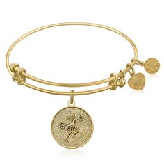 Expandable Bangle in Yellow Tone Brass with Cheerleader Symbol