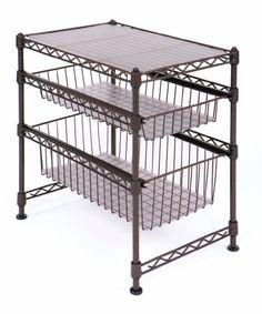 """Amazon.com - Seville Classics Single Basket Stackable Cabinet Organizer, 17.5"""" D x 11.5"""" W x 10"""" H - Standing Shelf Units"""
