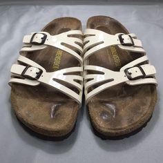 Women's Birkenstock Granada Brand new, in perfect condition, cream patent leather straps. Sz 38 Birkenstock Shoes Sandals