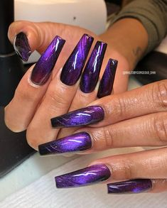 Purple Chrome Nails, Purple Acrylic Nails, Purple Nail Art, Purple Nail Designs, Cute Acrylic Nail Designs, Colorful Nail Designs, Best Acrylic Nails, Green Nails, Glam Nails