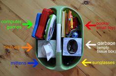 Use an inexpensive cleaning caddy to store miscellaneous small items in your RV, camper or truck. Love the idea of using a tissue box for trash and as a divider. Could also hold pens and pad, maps, cell phones and other small items you need to keep handy.