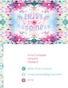 My business card, Irms, Designer artworks & graphics, Prints & patterns. Please contact me for work or Follow me on Pinterest: https://nl.pinterest.com/icorbeek