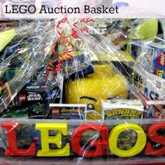 lego basket for raffle Theme Baskets, Themed Gift Baskets, Diy Gift Baskets, Fundraiser Baskets, Raffle Baskets, Chinese Auction, Silent Auction Baskets, Auction Projects, Class Projects