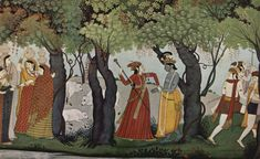 Radha disguised as a Constable arresting Krishna as a Thief. Garhwal, Punjab Hills, ca. 1785, Indian Museum, Kolkata