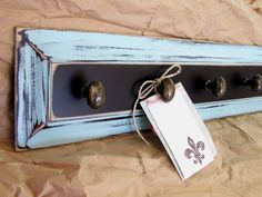 Distressed Coat Rack From Upcycled Cabinet Door Panel - Black And Robin's Egg…