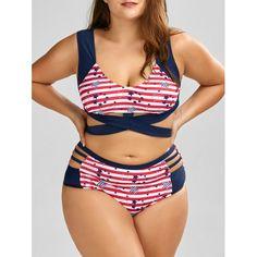 a52a32672bf65 Wrap American Flag Print Cutout Padded Plus Size Bikini - Purplish Blue Xl  Mobile