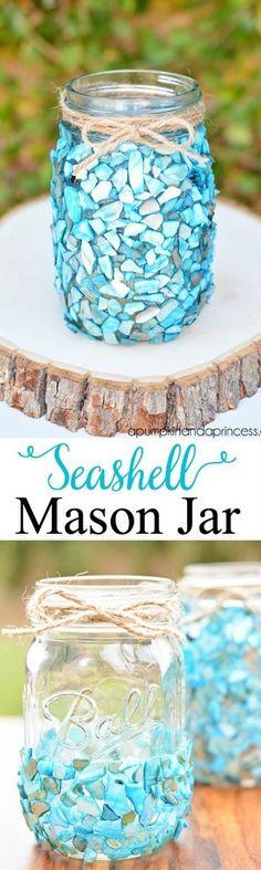 Seashell mosaic mason jar