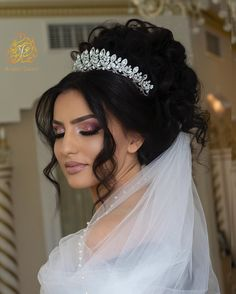 wedding hairstyles with crown Image may contain: 1 person, wedding Wedding Hairstyles With Crown, Crown Hairstyles, Elegant Hairstyles, Bride Hairstyles, Bridal Makeup Looks, Bridal Hair And Makeup, Hair Makeup, Wedding Tiara Veil, Bride Tiara