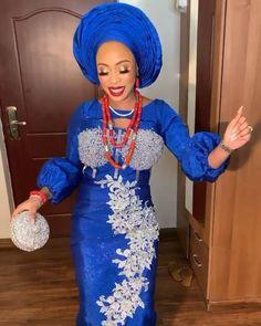 Nigerian Lace Styles Dress, Nigerian Wedding Dresses Traditional, Nigerian Clothing, Nigerian Outfits, African Lace Styles, Traditional Wedding Attire, Short African Dresses, Lace Dress Styles, African Fashion Ankara