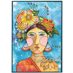 Laurel Burch Cling Blossoming Woman Stamp Set