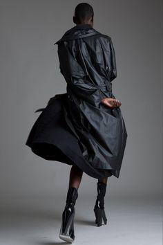 Vintage Issey Miyake Coated Trench and Issey Miyake Dress. Designer Clothing Dark Minimal Street Style Fashion