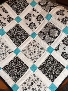 Modern Baby Quilt - Black, White And Teal Colors