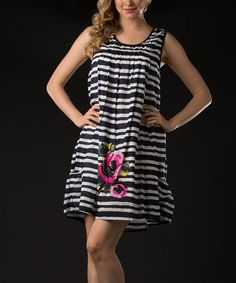 Take a look at this Navy Stripe & Blossom Dress by Vasna on #zulily today!
