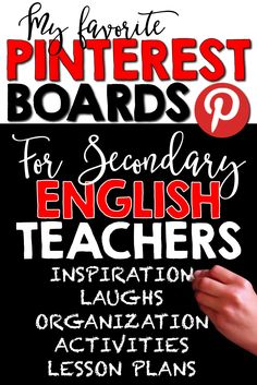 A great collection of Pinterest boards for secondary English teachers.