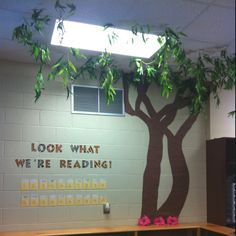 My classroom library, check out, and tree!!!