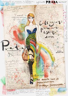 Prada Spring Summer 2014 on Behance. Prada fashion runway Spring Summer 2014. Colorful dress glitter rainbow fashion illustration sketch watercolor typography handwriting www.errinamercer.com