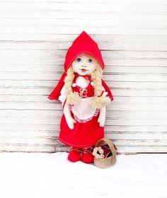 Cloth dolllittle Red Riding Hood doll doll van AnnaDesigner op Etsy, $68,00