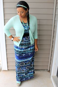 mint cardigan with cobalt blue printed maxi dress modest outfit idea for summer