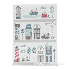 Sebra Wallstickers ark 23 stk, Village gutt