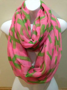 Pink and green print scarf