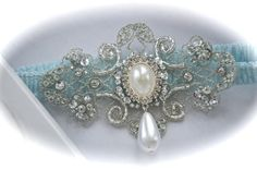 Bride Garter in Something Blue Sensually Narrow Lace with Exquisite Jeweled and Pearl Dangle - Garter Lady