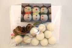 felt snowman DIY kit, Make your own felt acorn snowman ornament kit, set of 5 snowman