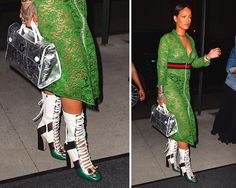 Rihanna Gucci Finnlay Lace-Up Boots